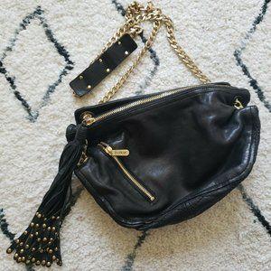 Botkier Black Leather Fringe Shoulder Bag